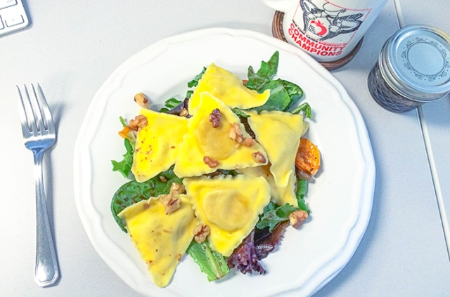 Ashley Mason | Squash Ravioli on Salad with Walnuts